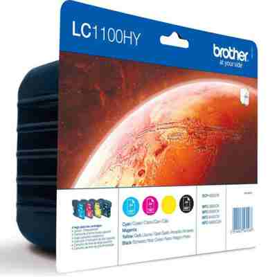 Tusze oryginalne LC-1100HY CMYK do Brother (LC1100HYVALBP) (komplet)