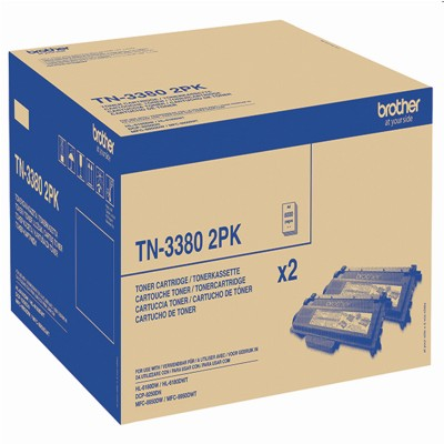 Tonery oryginalne TN-3380 do Brother (TN3380TWIN) (Czarny) (dwupak)
