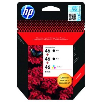 Tusze oryginalne 2x 46 BK + 46 Color do HP (F6T40AE) (trójpak)