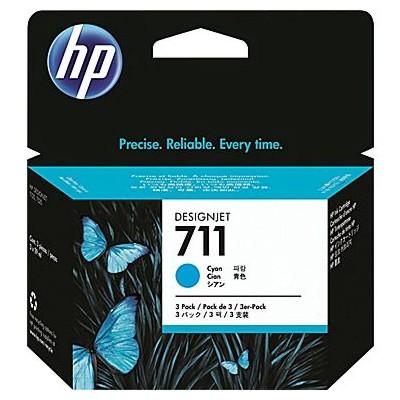 Tusze oryginalne 711 do HP (CZ134A) (Błękitny) (trójpak)