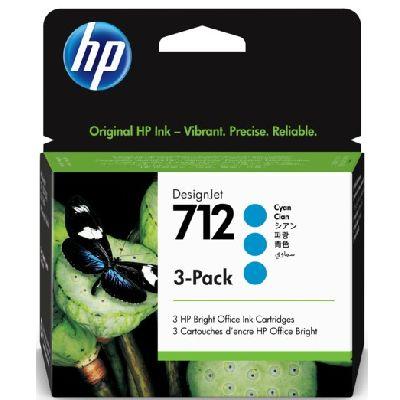 Tusze oryginalne 712 do HP (3ED77A) (Błękitny) (trójpak)