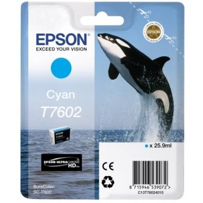 Tusz oryginalny T7602 do Epson (C13T76024010) (Błękitny)