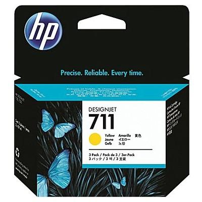 Tusze oryginalne 711 do HP (CZ136A) (Żółty) (trójpak)